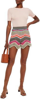 M Missoni Scalloped Crochet-knit Cotton-blend Shorts