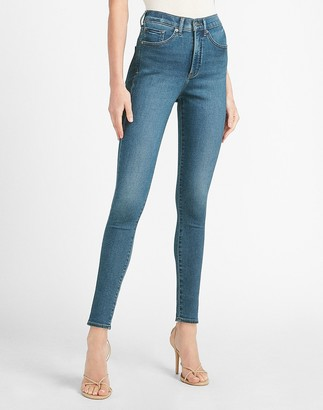 Express High Waisted Luxe Comfort Knit Faded Skinny Jeans