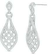 Zales 1 CT. T.W. Diamond Woven Marquise Drop Earrings in 10K White Gold