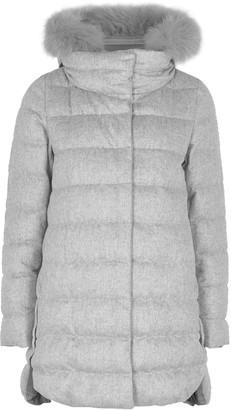 Herno Grey Quilted Fur-trimmed Cashmere-blend Coat