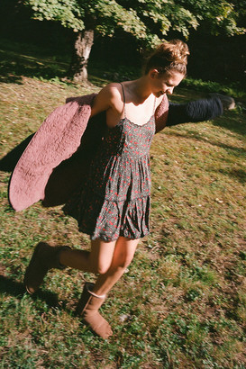 Urban Outfitters Hanna Rayon Scallop Babydoll Mini Dress