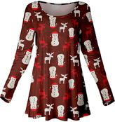 Azalea Rust & White Snowman Scoop Neck Tunic - Plus Too