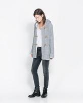 Zara Duffle Coat With Faux Sheepskin Hood