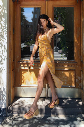 Urban Outfitters Lily Satin Wrap Midi Dress