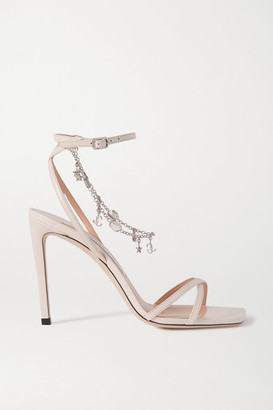 Jimmy Choo Metz 100 Logo-embellished Leather Sandals - White