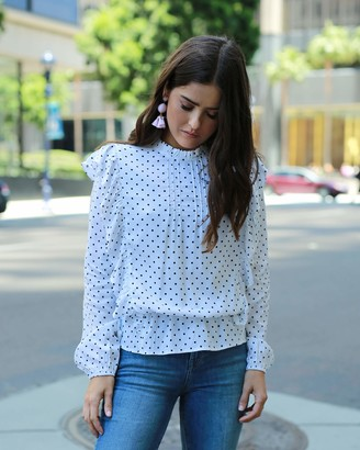The Drop Women's Ivory Loose Fit Polka Dot Ruffled Blouse by @paolaalberdi XL