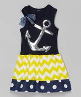Beary Basics Yellow & Navy Anchor Dress - Infant, Toddler & Girls