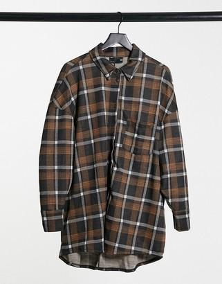 ASOS DESIGN mini long sleeve shirt dress in mustard and gray plaid
