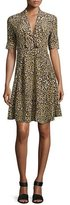 Derek Lam Leopard-Print Short-Sleeve Dress, Yellow