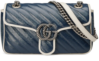 Gucci GG Marmont 2.0 Shoulder Bag in Blue & Mystic White | FWRD