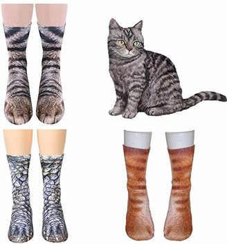 Tpocean 3 Pairs Animal Cat Paw Crew Socks 3D Animal Socks Cotton Halloween Socks for Women Girls Adult Unisex