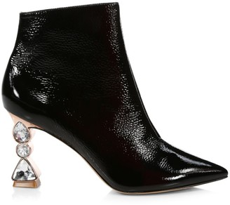 Sophia Webster Bijou Jewel-Heel Patent Leather Ankle Boots