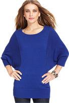 Style&Co. Sweater, Dolman-Sleeve Contrast-Knit