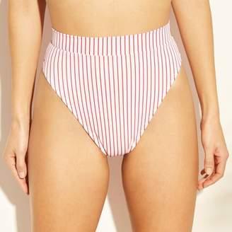 Xhilaration Women's High Leg High Waist Bikini Bottom Red Stripe