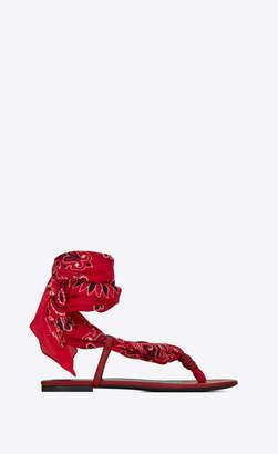 Saint Laurent Sandals Dallas Bandana Open Sandals In Leather Red 1.5