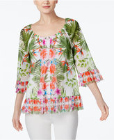 INC International Concepts Petite Printed Flounce Peasant Top, Only at Macy's