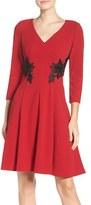 London Times Lace Appliqué Fit & Flare Dress