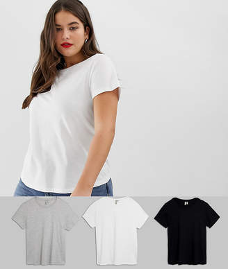 Asos DESIGN Curve ultimate t-shirt with crew neck in 3 pack SAVE-Multi