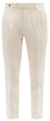 Brunello Cucinelli Pleated Tapered-leg Wool-blend Twill Trousers - Mens - Cream