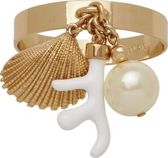 Joanna Buchanan Set of 4 Coral and Shell Skinny Napkin Rings