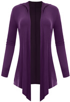 Biagio Women's Cardigans Purple - Purple Hooded Open Cardigan - Women