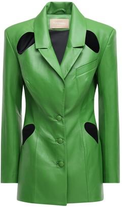 MATÉRIEL Faux Leather Blazer W/ Cutouts