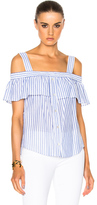 Veronica Beard Lacey Cold Shoulder Top in White,Blue,Stripes.