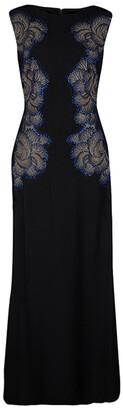Tadashi Shoji Black Lace Applique Side Panel Detail Embellished Sleeveless Gown S
