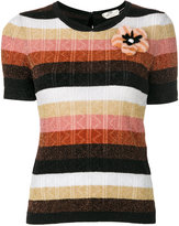 Fendi striped top - women - Mink Fur/Polyamide/Polyester/Lamb Fur - 42