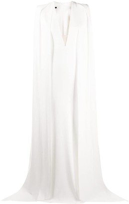 Alex Perry plunge style layered cape dress