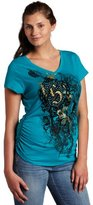 Southpole Juniors Plus Size V-Neck Side Ruched Graphic Logo Tee