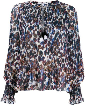 Derek Lam 10 Crosby Helena pleated speckled floral blouse