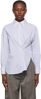 Tibi Blue and White Stripe Oversized Shirt