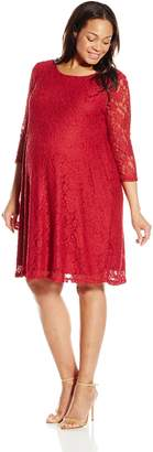 Three Seasons Maternity Women's 3/4 Sleeve Lace Skater Dress Plus