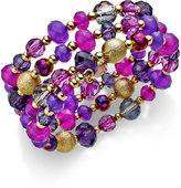 Style&Co. Style & Co. Gold-Tone Purple Beaded Coil Bracelet, Only at Macy's
