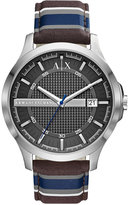 Armani Exchange A X Men's Blue Stripe Fabric Strap Watch 46mm AX2196