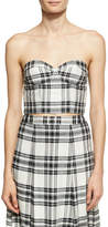 Alice + Olivia Orten Cupped Plaid Bustier Crop Top, White-Black