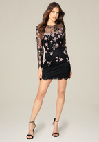 Bebe Rosette Embroidered Dress