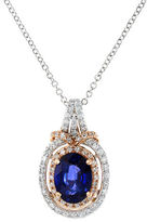 Effy 14K White and Rose Gold Sapphire and Diamond Pendant Necklace