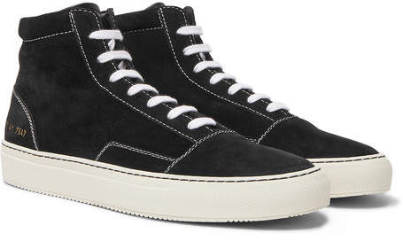 Common Projects Cap-Toe Suede High-Top Sneakers - Men - Black