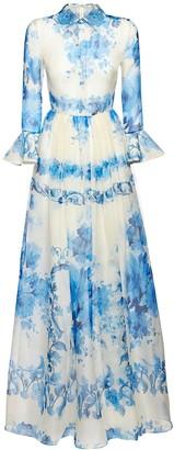 Valentino Ceramic Printed Silk Organza Long Dress
