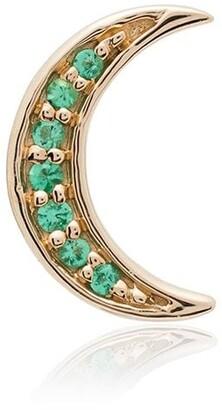 Andrea Fohrman 14K yellow gold Crescent Moon emerald earring