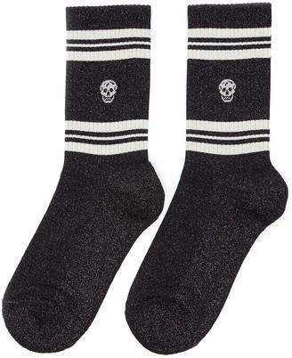 Alexander McQueen Mid calf contrast stripe skull socks