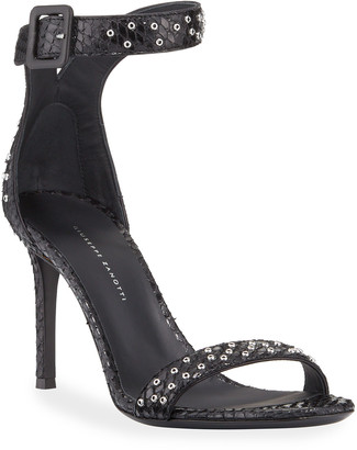 Giuseppe Zanotti Snake-Embossed Leather Ankle-Strap Sandals