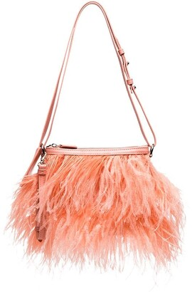 Marques Almeida Feather-Trimmed Shoulder Bag
