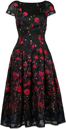 Talbot Runhof Poppy Embroidered Flared Dress