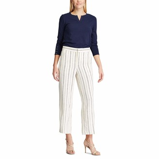 Chaps Women's Misses Casual Wide Leg Linen Blend Long Pants Trousers