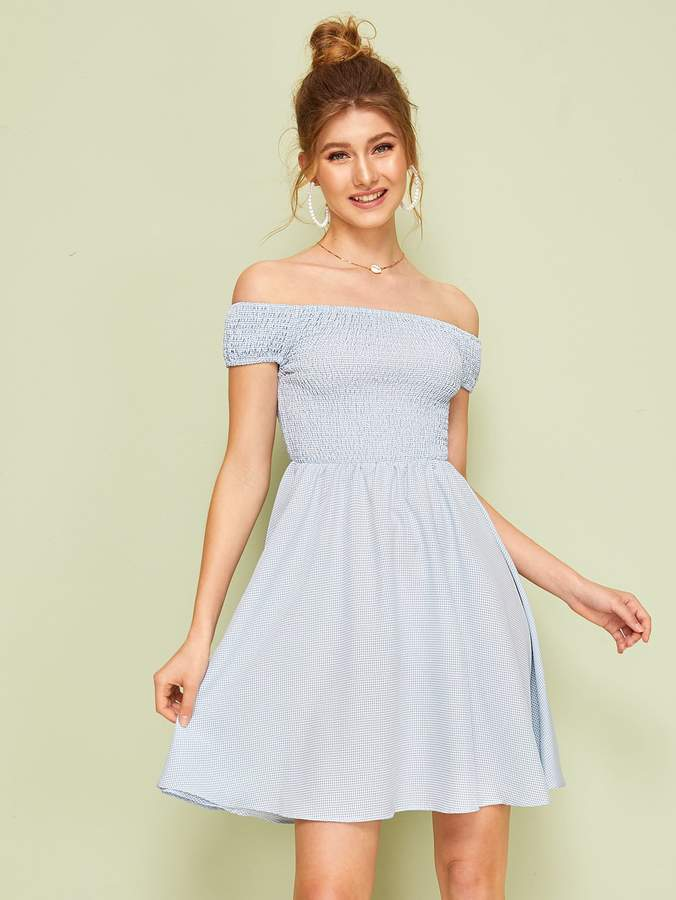 431160b39e Gingham Off Shoulder Dress - ShopStyle