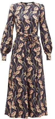 Goat Jemima Floral-print Charmeuse Midi Dress - Womens - Black Multi