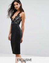Club L 2 in1 Midi Dress with Crochet Lace Top